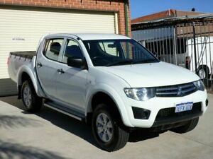 2013 Mitsubishi Triton MN MY13 GLX Double Cab White 5 Speed Manual Utility Mount Lawley Stirling Area Preview