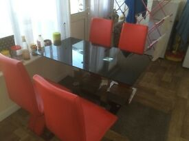 Dinning table with Faux leather chairs for sale