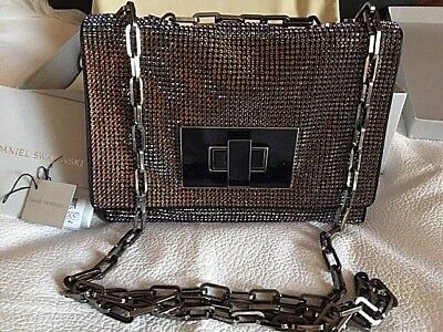 DANIEL SWAROVSKI CRYSTAL MESH EVENING BAG MERIDIAN BLUE RUTHENIUM HW NWT $3000