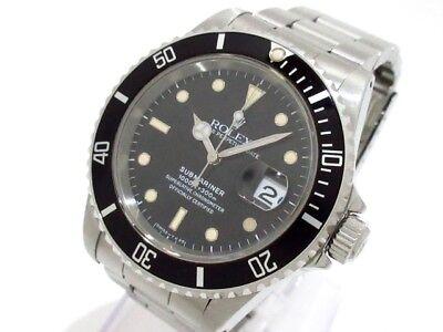 Auth ROLEX SubmarinerThe Date 16610 Black Silver R713021 Men