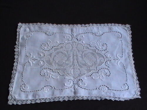 Antique Italian Reticella Linen Pillow Sham Hand Embroidery Filet Lace Cutwork