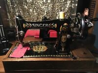 Antique 1917 Singer 66k Lotus decal heavy duty hand crank sewing machine - working & oiled