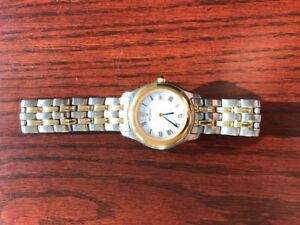Movado Wrist Watch Two Tone Gold Stainless Steel Bracelet