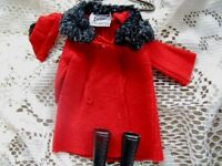 0819 BARBIE RED IT'S COLD OUTSIDE COAT,FURRY COLLAR,HAT,BOOTS