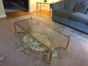 Glass Beveled Top and Brass Trim