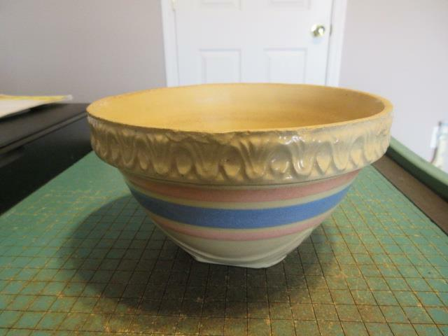 """Antique Pink and Blue Band Stoneware Crock 7-1/2"""""""