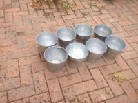 Collection of galvanised plant pots, approx 15cm top diameter