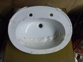 "White porcelain OPTIMA vanity wash basin. New, bought and never installed. 24""L 18""D 12"" H."