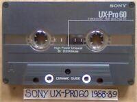 A2Z RARE SONY UX-PRO 60 PREMIUM AUDIOPHILE CHROME GUARANTEED CASSETTE TAPES 1988-89 W/ CCL's & FP&P