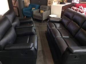 EX-DISPLAY new BLACK GENUINE LEATHER RECLINERS ezi pay $28p/w Bundall Gold Coast City Preview