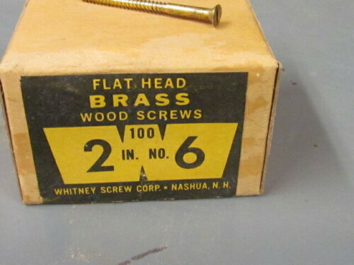 "VINTAGE FLAT HEAD BRASS WOOD SCREWS  2"" # 6  QTY 100   1 BOX"