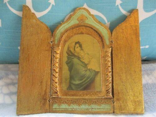Jadite Green Madonna Jesus Italian Tole Florentine Wood Triptych Icon Plaque