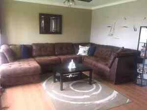 Three peice suede sectional