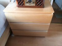Single bed and chest of drawers