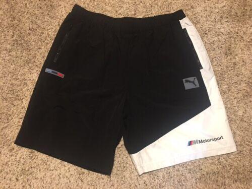 $70 Mens BMW M Motorsport Street Woven Mesh Lined Puma Black White Shorts Sz XL