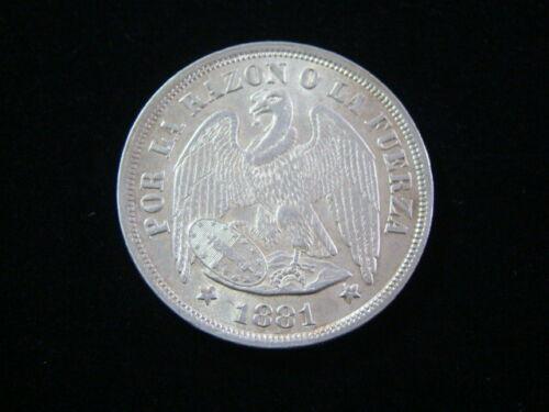 Chile 1881 Silver Peso Choice AU KM#142.1 Nice!!