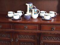 Vintage/retro Royal Tudorware Inca style Coffee Set in Tonga Pattern