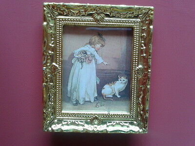 Dolls House Miniatures 1/12th scale Gold Framed Child & Pet Picture D1255 New