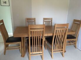 John Lewis Solid Wood Extending Dining Table with 6 High-back chairs