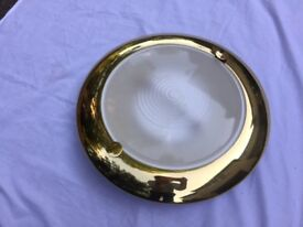 Brass Flush Mounted Ceiling Light with Frosted Glass Diffuser