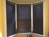 3 Wooden blinds for bay window in dark brown wood.