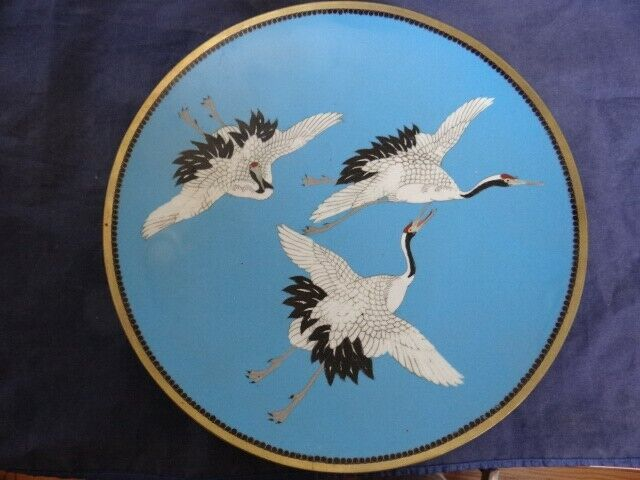Very Fine Antique Meiji Period Japanese 3 Flying Cranes Cloisonne Charger Plate