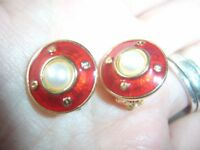 Vintage Deco Style Red Enamel Faux Pearl Gold Tone 16mm Round CLIP ON Earrings