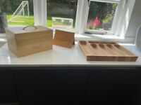 Pine Bread Bin, Cutlery Tray and Cook Book Stand