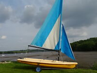 Laser Pico sailing dinghy with launch trolley
