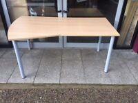 Beech left hand desk with screw on legs
