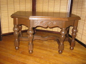 Solid Small Oak and Walnut Table