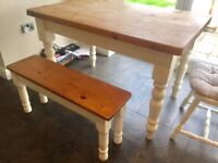 Shabby Chic table with 2 benches and chair