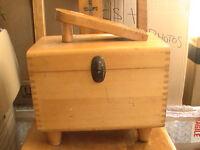 Wooden antique boot polish box