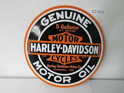 OEM Harley-Davidson Round Oil Metal Tin Sign Embossed New Shop garage bar
