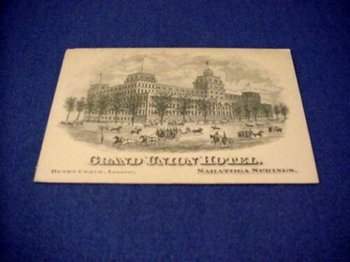 1881 Grand Union Hotel Victorian Trade Card - Saratoga Springs New York / NY