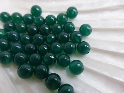 2 x 6mm Half Drilled Green Onyx Round Beads Halfdrilled Gemstone        (GB1162)