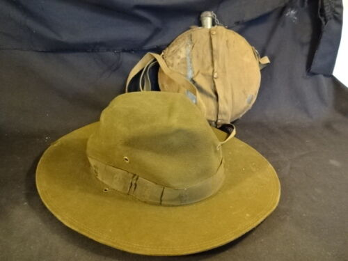 Old Vtg Boy Scouts Of America Official Hat And Cello Canteen LOT
