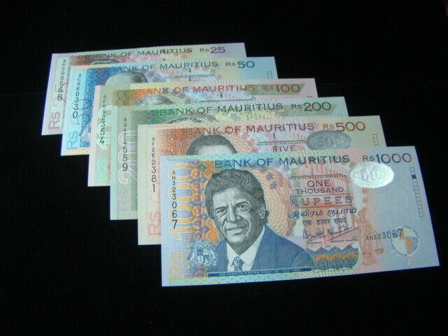 Mauritius 1999-2001 25-1000 Rupees Banknotes Gem Unc. Pick#49-54