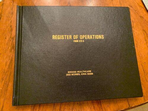 Register of Operations Briggs Healthcare Log Hardbound