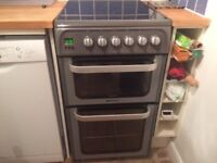 HOTPOINT ULTIMA 50cm ELECTRIC COOKER GRAPHITE HUE52GS AS NEW ONE YEAR LITTLE USED