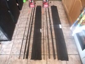 2 X NGT OCEAN CAST 3PCE 14 FT BEACH CASTER WITH 2 X ANGLING PURSUITS 700 REELS BRAND NEW