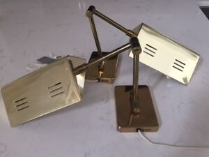 Swing-arm, tent shaded wall-mounted lamps