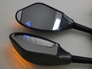 Carbon Mirror With LED Turn Signal Light For YAMAHA YZF R1 R6 R6S FAZER FZR 600
