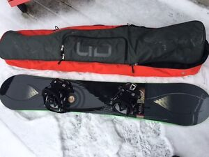 Complete Ride snowboard, bindings, boots, and bag set up