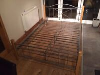 Double Bed Frame (Hardwood and metal)