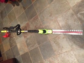 Telescopic Electric Hedge Trimmer Rotating Head & Shoulder Strap by Garden Gear.