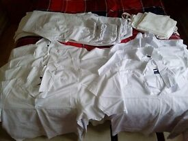 Bakery whites - suitable for male/female - XL size 8 pairs & 6 aprons, from a smoke & pet free home.