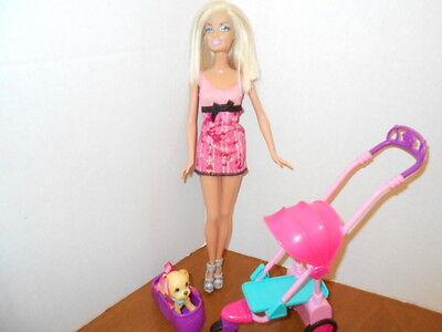 Barbie Strollin' Pup Stroller and Walking Dog Playset Pet, Stroller,Barbie Doll
