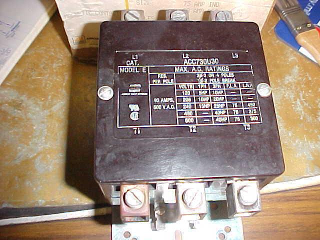 * COOPER INDUSTRIES/ARROW HART MAGNETIC CONTACTOR ACC730U30 MODEL E .. ZA-124C
