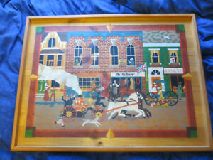 Vtg Horse Street Scene Folk Art Painting Fun Detail Take a look!